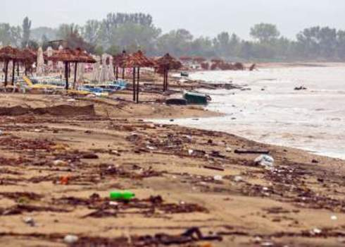 Anthropogenic Impacts Dirty Polluted Beach In Rain Oliver Sved